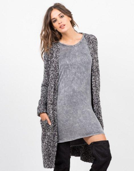 lång marmorerad stickad tröja stickad tröja outfit