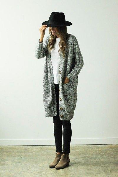 lång stickad tröja kofta outfit