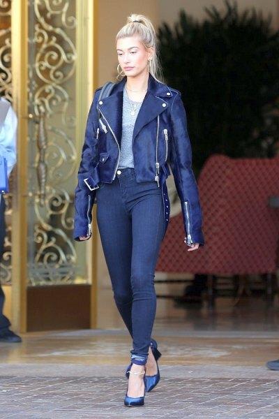 svarta stretchiga skinny jeans med läderjacka
