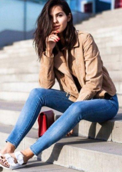 Blå jeans i crepe läder