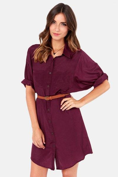 Burgundy skjortklänning med bälte