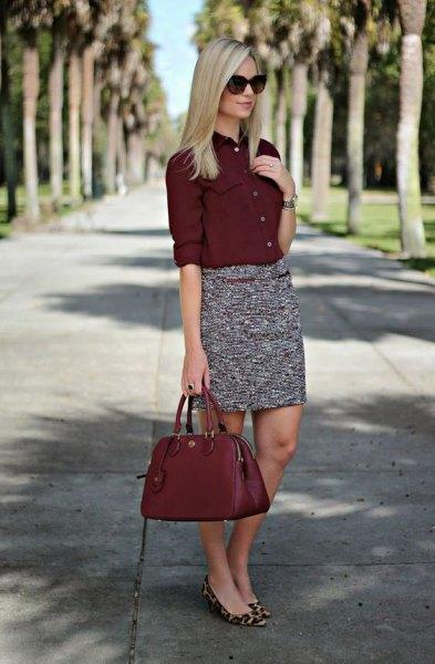 vinröd knapp upp skjorta tweed penn kjol