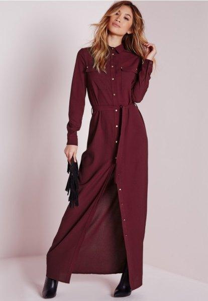 Maxi burgundy skjortklänning med bälte