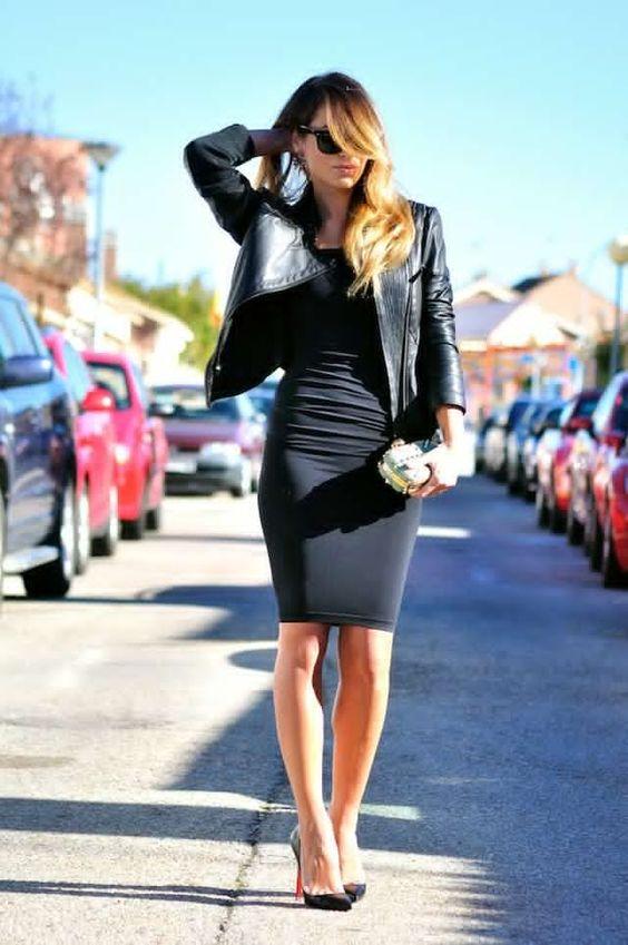 Läderjacka svart bodycon-klänning