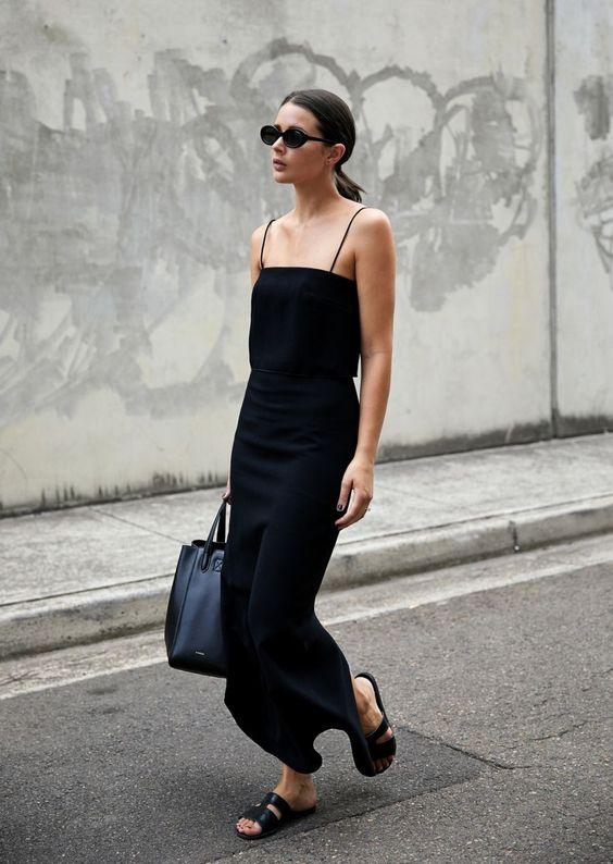 minimal svart bodycon-klänning