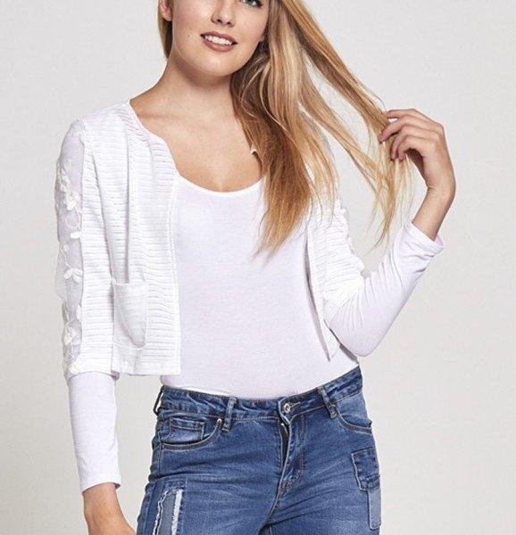vit väst topp blå jeans