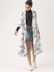 vit maxi armhåla kjol av blommig denim mini kjol
