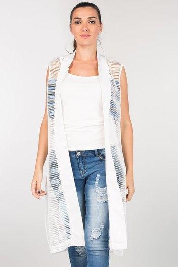 ärmlösa ryggbyxor i vit mesh