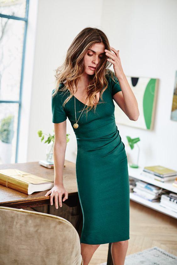 ädel smaragdgrön klänning