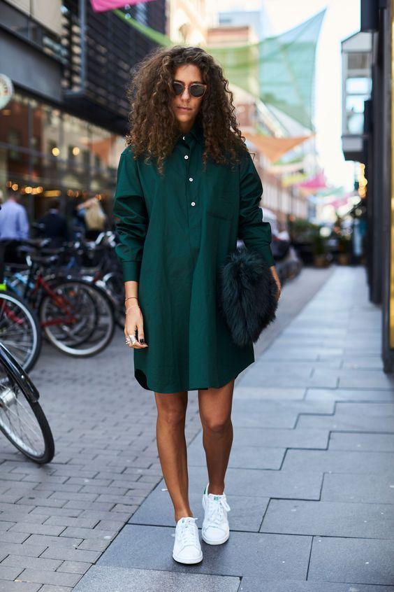 Baggy smaragdgrön klänning