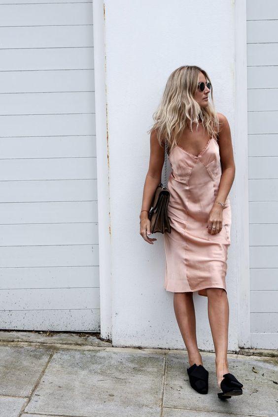 Spagetti klänning Baby Pink
