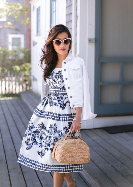 vit jeansjacka svart kjol