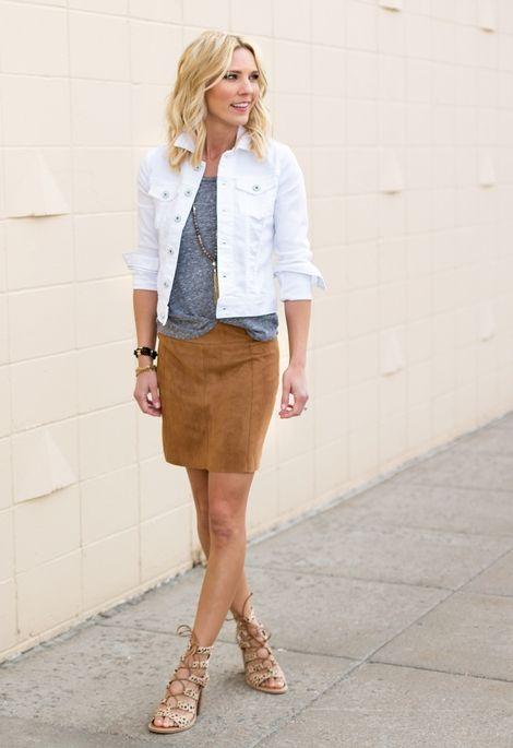 vit jeansjacka brun kjol