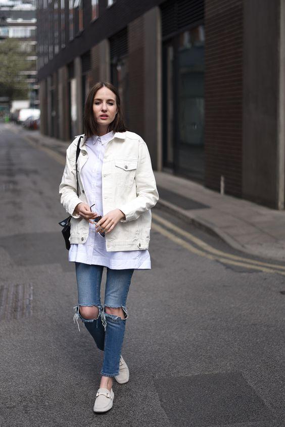 vit jeansjacka blå jeans