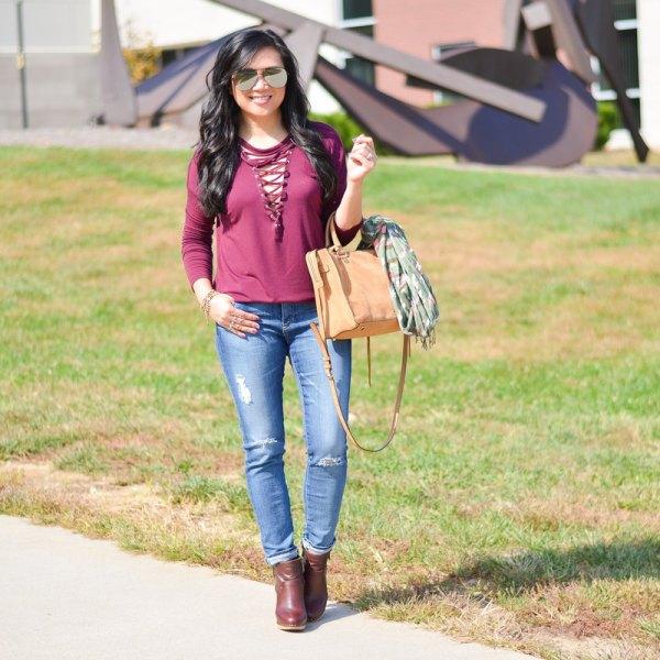rosa snörning långärmad t-shirt jeans