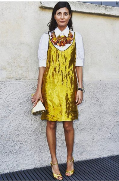 guld metallisk slip klänning