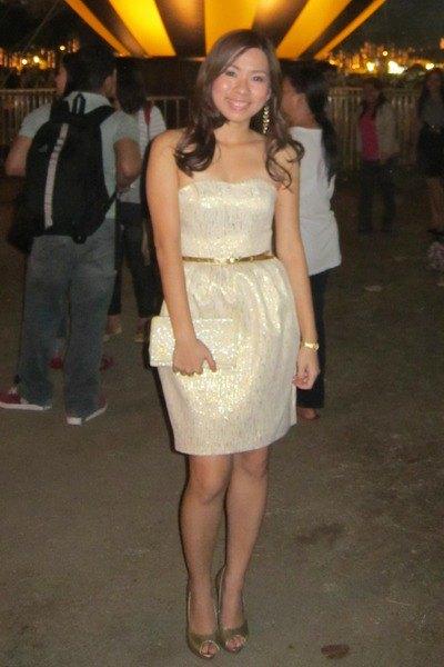 vit paljett bälte älskling mini klänning