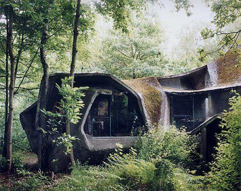 ekologiskt hus i naturen  Hus i naturen, Hippiehus, Organiskt.