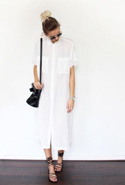 vit maxi sommar tunika blus med svarta gladiator sandaler