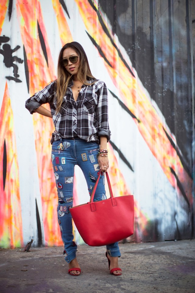 Patched jeans flanellskjorta