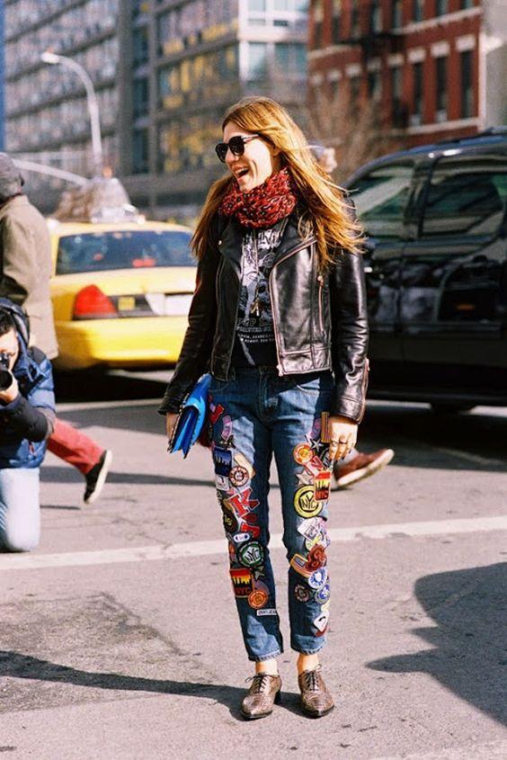 Patchwork jeans läderjacka