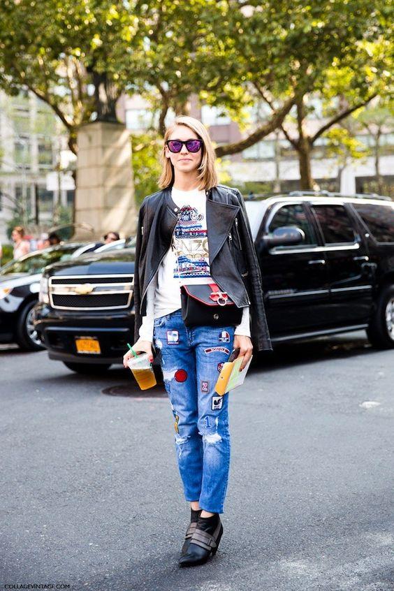 lappade jeans uttalande stövlar