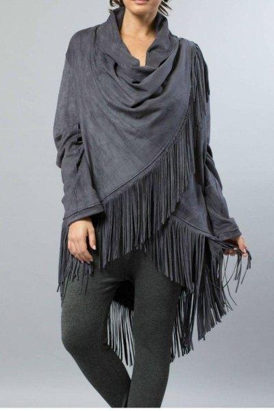 grå linne-bomulls leggings med fransar