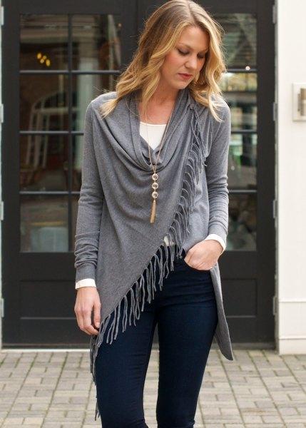 Mörkblå skinny jeans i boho-stil