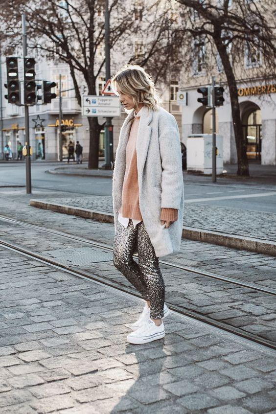 Paljett leggings grå kappa