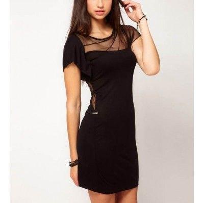svart halvtransparent kortärmad miniklänning
