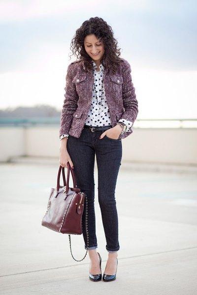 grå tweed jacka polka dot skjorta manschett jeans