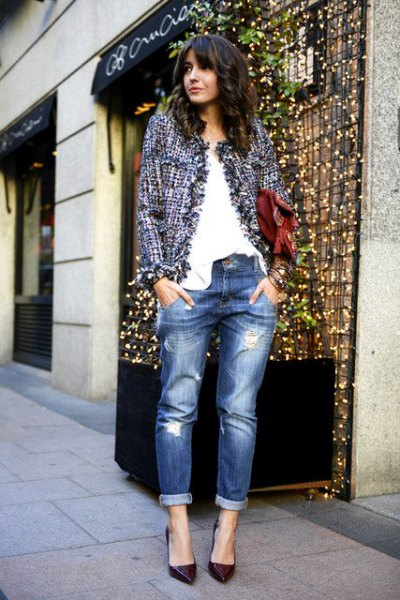 Tweed jacka pojkvän jeans outfit