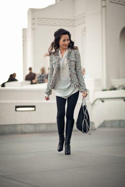 Tweed jacka polo shirt klänning leggings