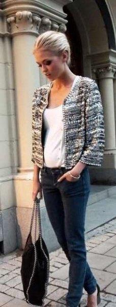 Tweed jacka vit väst topp jeans
