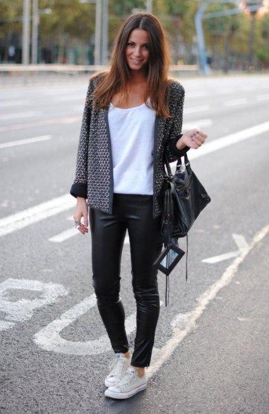Tweedjacka svart läderjacka