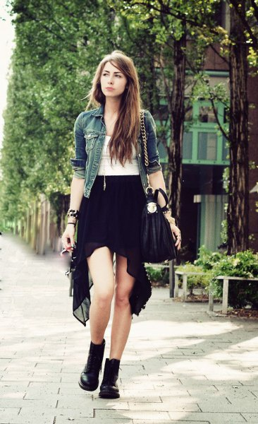 svart chiffong hög denimjacka med låg kjol