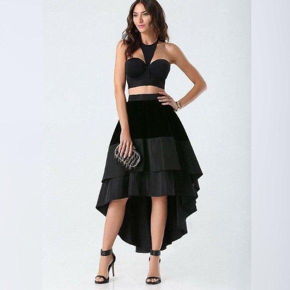 svart älskling topp volanger hög låg kjol