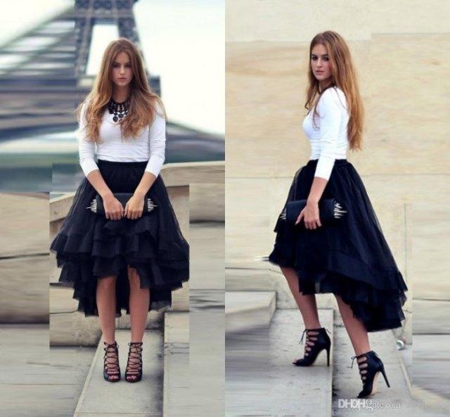 vit bodycon tröja svart tyll hög låg kjol
