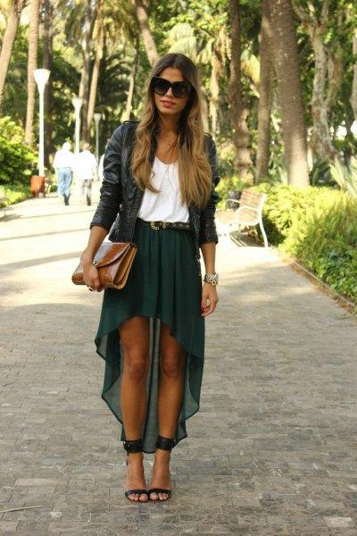 Chiffong kjol svart läderjacka
