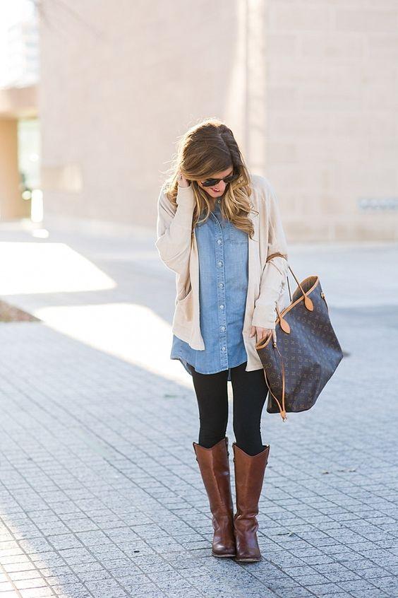 brun ridsko denimskjorta