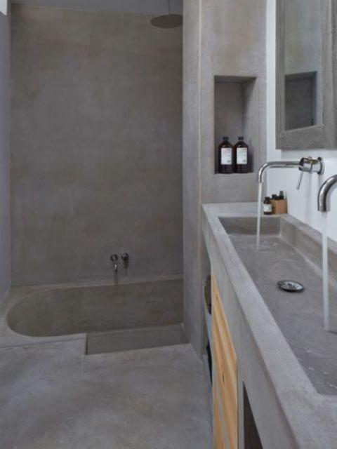 37 snygga sätt att använda betong i ditt badrum |  Реконструкция.