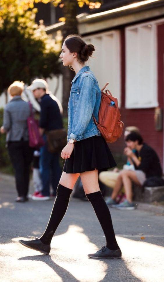 hög strumpa skater kjol