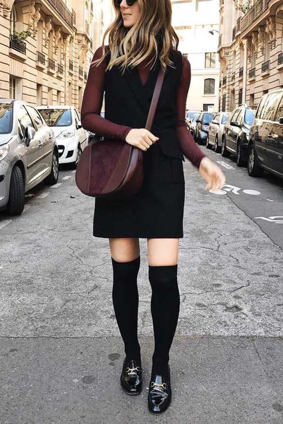 hög strumpor pinafore klänning