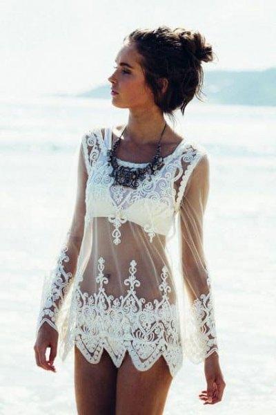 vit spets ren täcka upp klänning