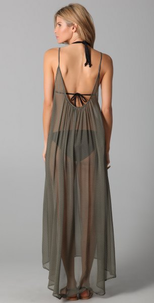 grön rygglös, halvtransparent chiffong maxiklänning