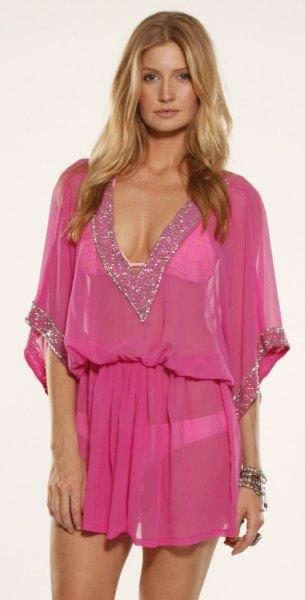 rosa rynkad midja chiffong täcka upp klänning
