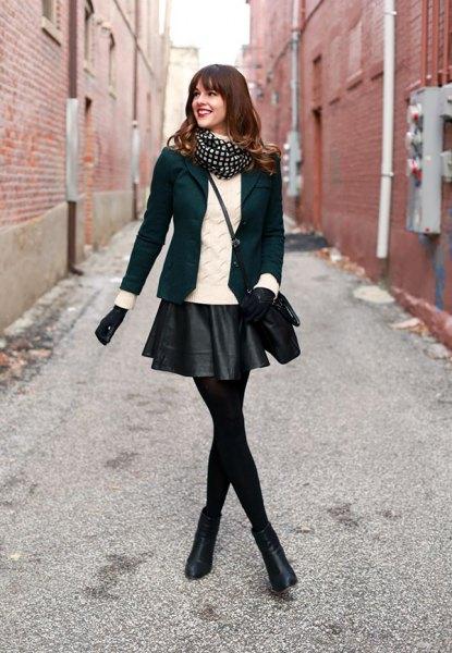 svart läder mini kjol leggings blazer stövlar