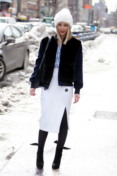 vit midi penna kjol svart fleece kappa på vintern