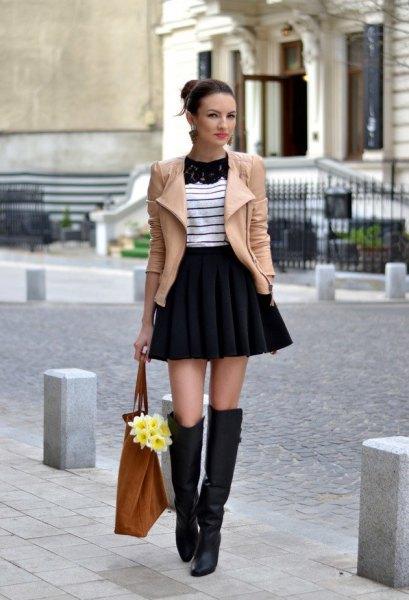 hög midja mini fling kjol på vintern