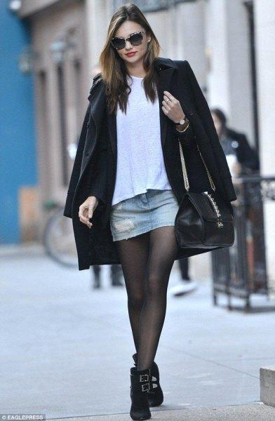Woolen coat mini denim kjol vinter